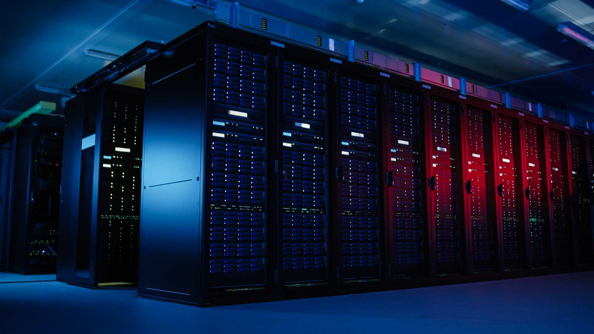 Master data management servers room background